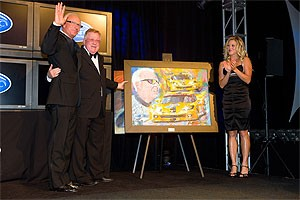 Corvette Racing program manager Doug Fehan (left) accepted the From the Fans award from ALMS founder Don Panoz.