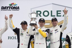 Corvette Racing; Rolex 24 at Daytona; Daytona International Speedway in Daytona Beach, FL; January 30-31, 2016; C7.R #3 driven by Jan Magnussen, Antonio Garcia, and Mike Rockenfeller; C7.R #4 driven by Oliver Gavin, Tommy Milner, and Marcel Fassler (Richard Prince/Chevrolet photo).
